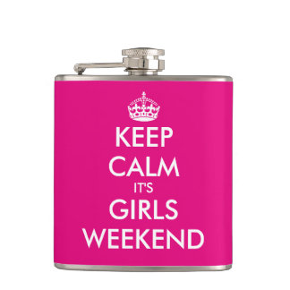 Funny keep calm its girls weekend hip flask