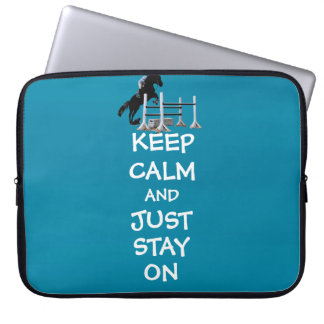 Funny Keep Calm & Just Stay On Horse Computer Sleeve