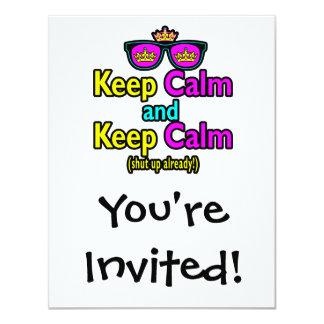 "Funny Keep Calm Meme Sarcasm Shut Up Already 4.25"" X 5.5"" Invitation Card"