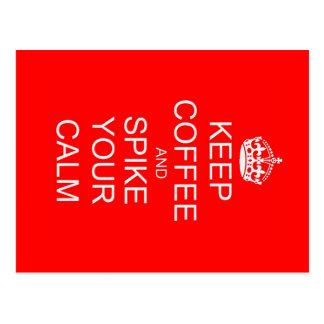 Funny Keep Calm Spiked Coffee Postcard
