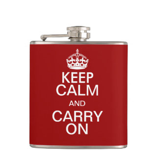 Funny KEEP CLAM and CARRY ON Flask