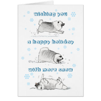 Funny Keeshond Snowy Holiday Card