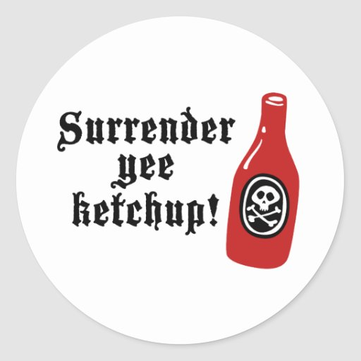 Funny Ketchup Pirate Classic Round Sticker