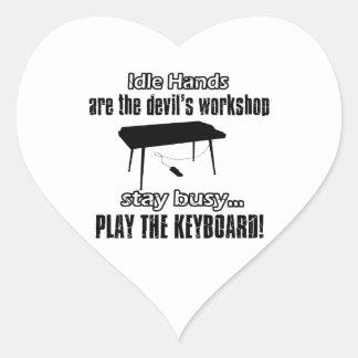 Funny keyboard designs heart stickers