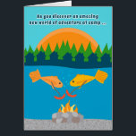 """Funny Kids at Summer Camp Fish Roasting Weenies Card<br><div class=""""desc"""">Let your child know that you&#39;re hoping that he/she is having an unbelievably great time at summer camp with this funny greeting card that shows two yellow fish having a weenie roast at the bottom of a lake. Sure to get a smile and remind your child how much he/she is...</div>"""