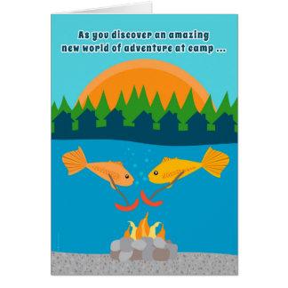 Funny Kids at Summer Camp Fish Roasting Weenies Greeting Card