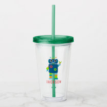 Funny Kids Colorful Robot Blue Personalized Acrylic Tumbler