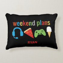 Funny Kids Weekend Plans Gamer Video Game Boys Accent Pillow