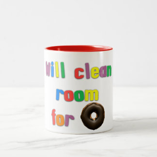 Funny Kids Will Clean Room For Donuts Two-Tone Coffee Mug