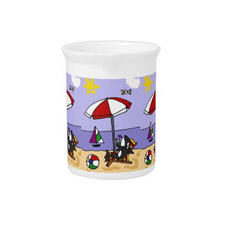 Funny Killer Whale at the Beach Art Beverage Pitcher