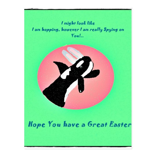 Funny Killer Whale with Easter bunny ears postcard