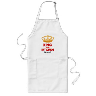 Funny King in the Kitchen with Crown Custom Name 1 Long Apron