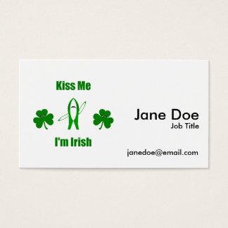 "Funny ""Kiss Me I'm Irish"" - Left Shark & Shamrocks Business Card"