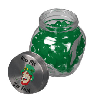 Funny Kiss Me I'm Irish Leprechaun Mini Glass Candy Jar