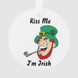 Funny Kiss Me I'm Irish Leprechaun Ornament