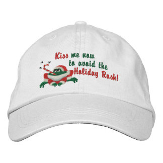 Funny Kiss Me Now Frog Embroidered Baseball Cap