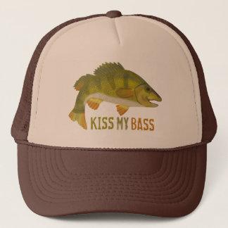 Funny Kiss My Bass Fish Fishing Angler Humor Trucker Hat