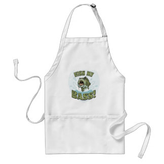 Funny Kiss My  Bass Gift Ideas for Fishermen Adult Apron