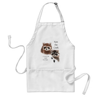 Funny, Kiss the Cook Cute Raccoon Humor Quote Adult Apron