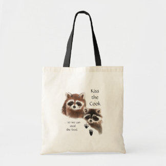 Funny, Kiss the Cook, Raccoons Tote Bag