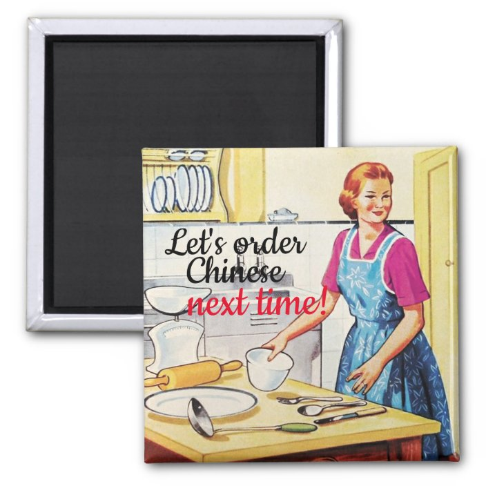Funny Kitsch 1950 S Vintage Housewife In Kitchen Magnet Zazzle Com