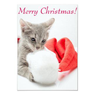 "Funny kitten a cap of Santa Claus 3.5"" X 5"" Invitation Card"