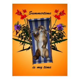 Funny kitten lying on the deckchair postcards