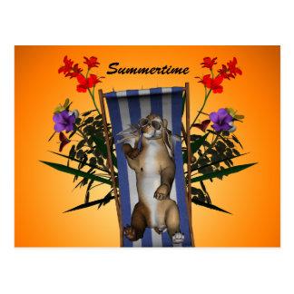 Funny kitten lying on the deckchair post card