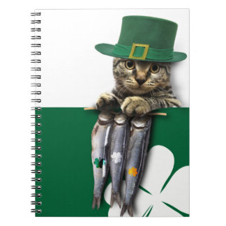 Funny Kitten. St. Patrick's Day Fun Notebook Note Books
