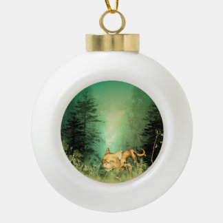 Funny kitten with baby cat in the wood ceramic ball christmas ornament