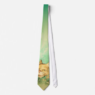 Funny kitten with baby cat in the wood neck tie