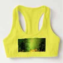 Funny kitten with baby cat in the wood sports bra