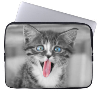 Funny Kitten With Tongue Hanging Out Computer Sleeve