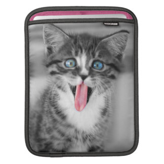 Funny Kitten With Tongue Hanging Out Sleeve For iPads