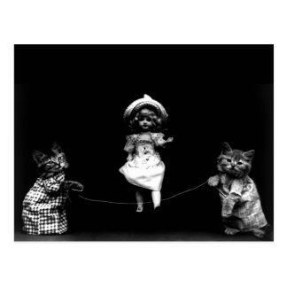 Funny Kittens Cat and Doll Jumping Rope Postcard