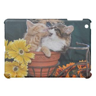 Funny Kitty Cat Kittens Fighting in Fall Flowers iPad Mini Case