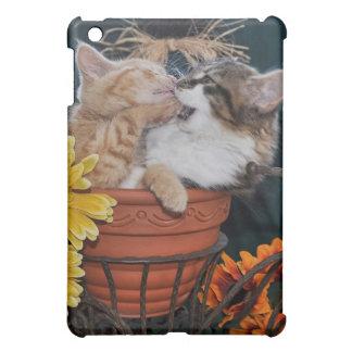 Funny Kitty Cat Kittens Fighting in Fall Flowers iPad Mini Covers