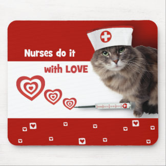Funny Kitty Nurse Gift Mousepads for Nurses