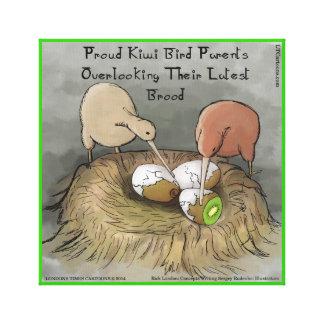 Funny Kiwi Bird Parents & Fruit Canvas Print Canvas Prints