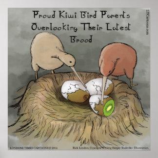 Funny Kiwi Birds Tending To Their Fruit Poster