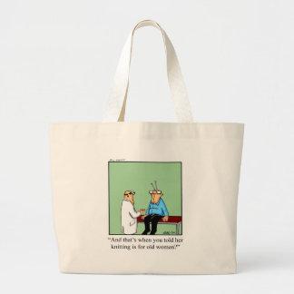 Funny Knitting Cartoon Bag