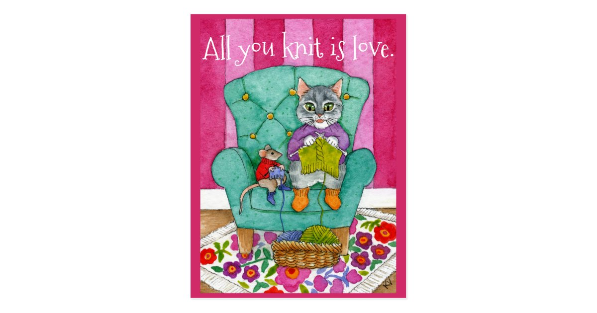 Funny Knitting Cat And Mouse Postcard Zazzle Com