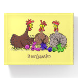 Funny knitting chickens cartoon illustration paperweight