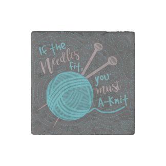 Funny Knitting Humor Knitters Needles Yarn Stone Magnet