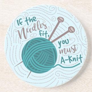 Funny Knitting Knitter Yarn Needles Humor Drink Coaster