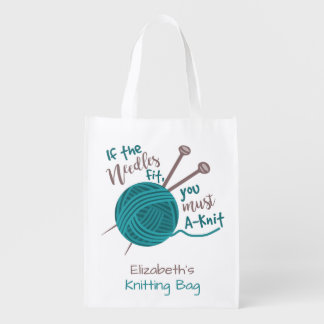 Funny Knitting Needles Yarn Humor | Knitters Name Reusable Grocery Bag