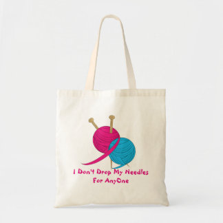 Funny Knitting Wool And Needles Novelty Design Budget Tote Bag