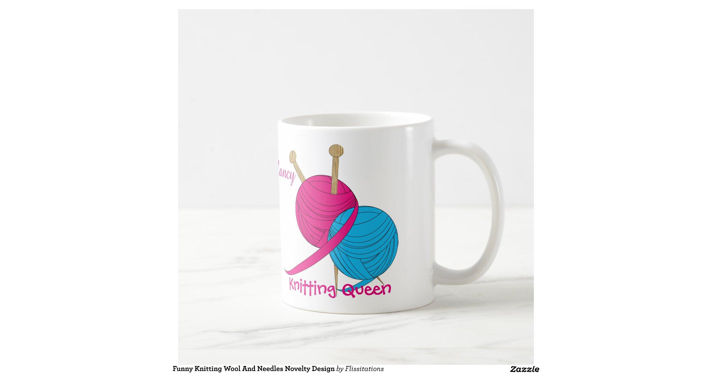 Knitting Needles Novelty : Funny knitting wool and needles novelty design classic