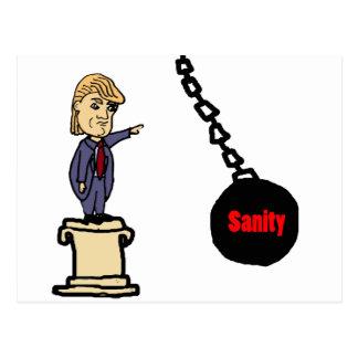 Funny Knock Trump off Pedestal Cartoon Postcard