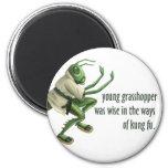 Funny Kung Fu Grasshopper 2 Inch Round Magnet
